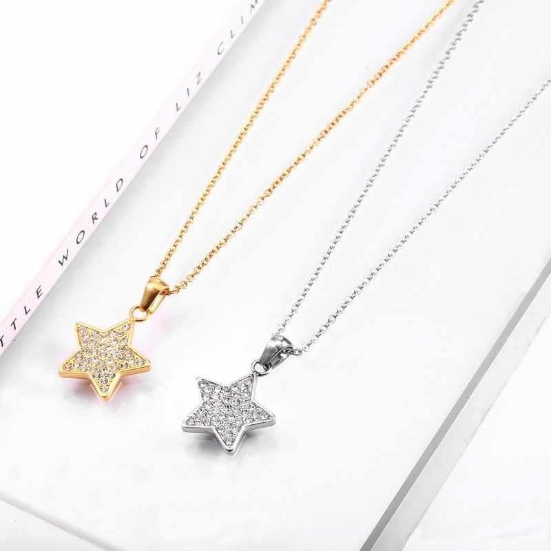RIR Fashion New Pendant Star Shape Necklace Silver Gold Stainless Steel With Crystal Star Pendant For Women Necklace Jewelry