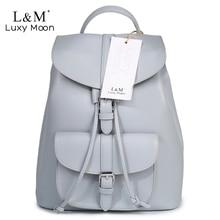 Женщины Рюкзак Винтажные кожаные рюкзаки drawstring черный рюкзак брендовые сумки на плечо для девочек-подростков серый школьная сумка XA950H
