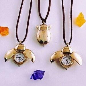Оптовая продажа с фабрики, детские часы с ожерельем божьей коровки, модные детские ювелирные изделия, Подарочные часы, мужские карманные ча...