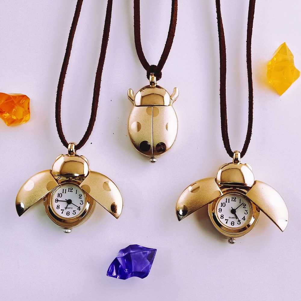 Factory Wholesale Children Watch Ladybug Beetle Necklace Table Fashion Kids Jewelry Gift Watches Men Pocket Watch Girl Boy Clock