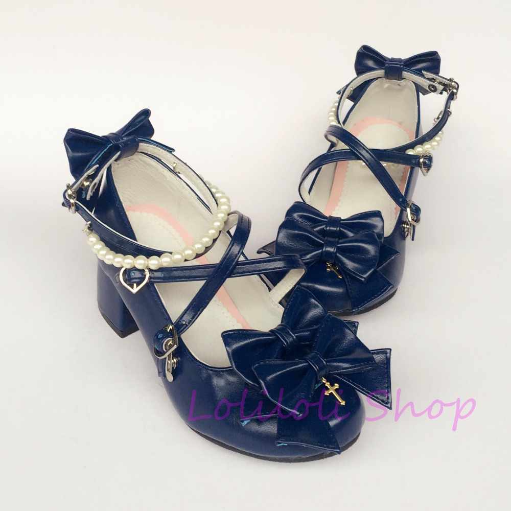 Здесь продается  Princess sweet lolita shoes loliloli yoyo   ultramarine bright skin with custom cross  lace-up high-heeled shoes  6644  Обувь