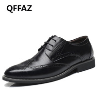 QFFAZ Black Yellow Brown Blue Men Leather Dress Shoes Business Formal Men Office Lace Up Oxford