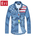 2017 Brand Fashion Jeans Shirt Long Sleeve Flag Patchwork Casual Slim Washed Denim Mens Shirts Social Camisa Masculina 3XL X113
