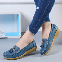 2018 new Flats Woman Cow Leather Flats Women Slip On Women's Decoration Large