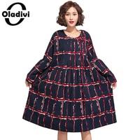 Oladivi Oversized Plus Size Women Clothing Fashion Plaid Print Casual Dress Fashion Ladies Loose Style Tops