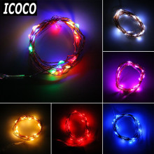 ICOCO 2m 20 LEDs CR2032 Button Battery Operated LED Copper Wire String Fairy Lights For Christmas Party BBQ Wedding Decor Sale(China)