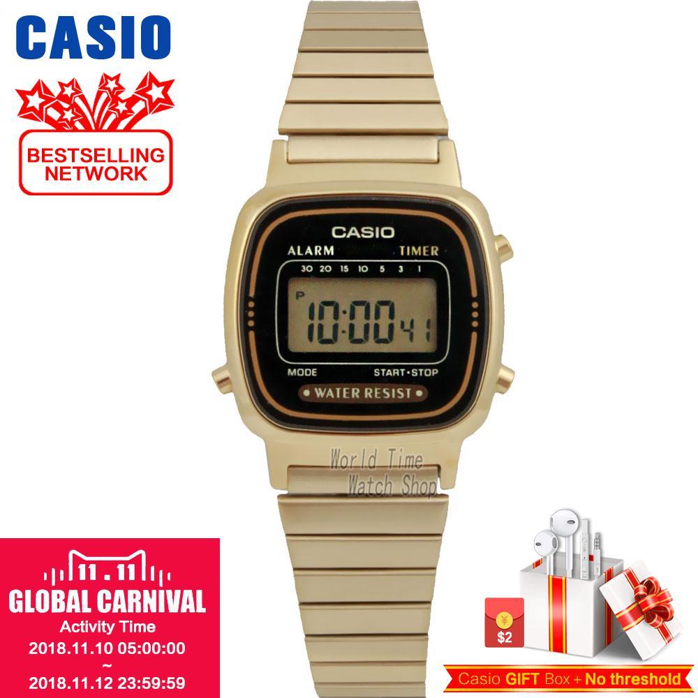 CASIO Часы Для женщин золотой тон хронограф сигнализации ЖК-дисплей цифровой WatchLA680WEGB LA680WGA LA670WEGB LA670WGA