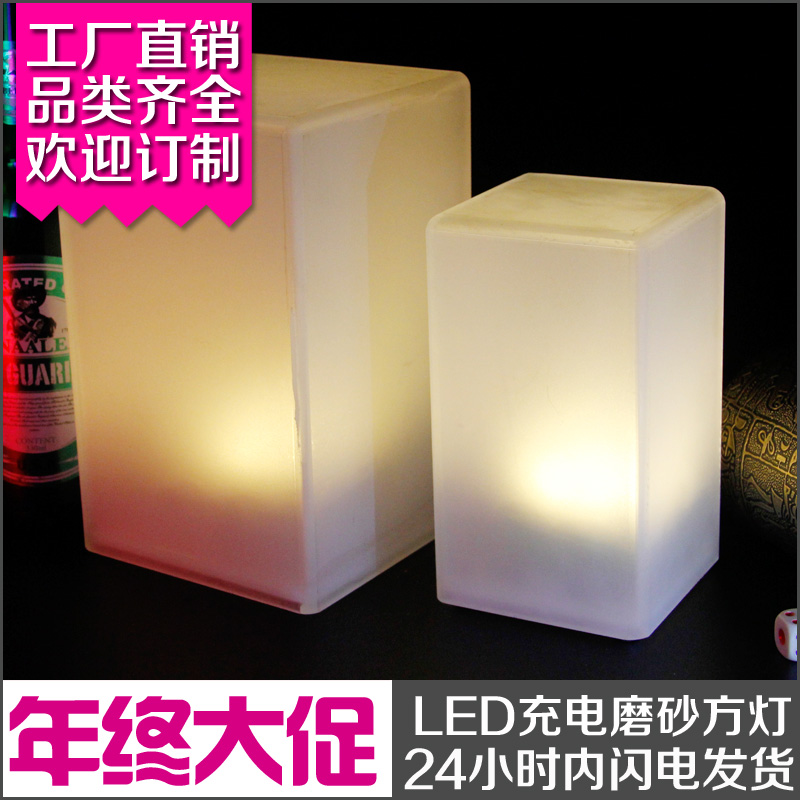 Scrub Bar Counter Led Charge Lamp Table Lithium Battery Ktv Candle Small Night Light Square Logo In Lamps From Lights Lighting On