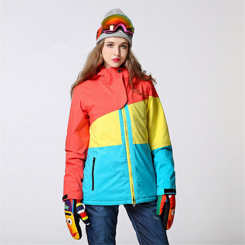 Blue Patchwork Women Ski Jacket Warm Waterproof Winter Windproof Snowboard Down Jacket Outdoor Sport Climbing Coat Large Size men and women winter ski snowboarding climbing hiking trekking windproof waterproof warm hooded jacket coat outwear s m l xl