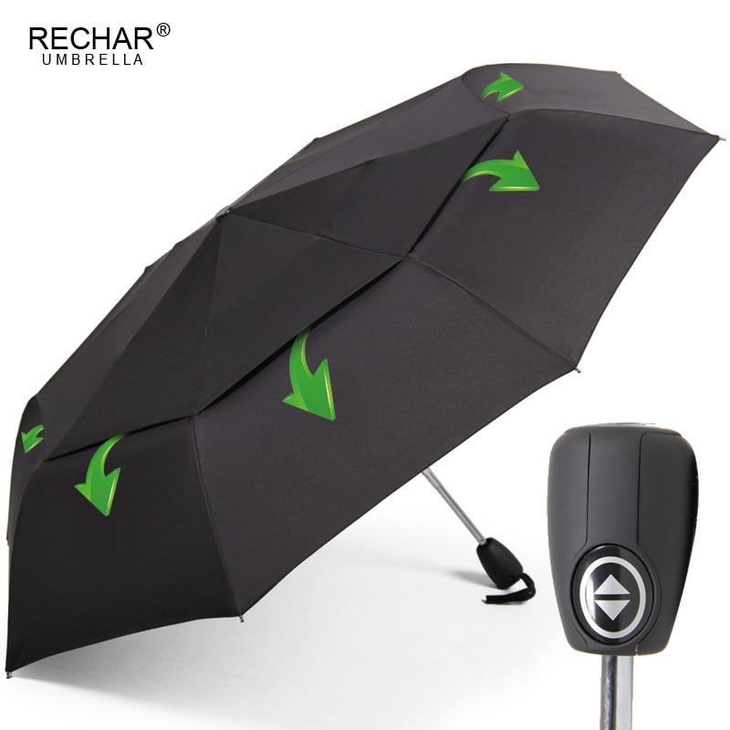 RECHAR Marque Automatique Qualité Double Couche Parapluie Pluie Femmes Homme 3 Fois Coupe-Vent En Plein Air Parapluie Hommes Femme Parapluie Parasol