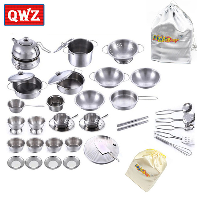 Qwz 32pcs Stainless Steel Kitchen Cooking Utensils Pots Pans Food Gift Mini Cook Tools Simulation