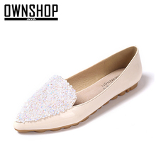 OWNSHOP Summer Women Flat Shoes White Woman Summer Spring Shoes Black Bling Lady Fashion Flats Soft Sole Women Shoes Pointed Toe