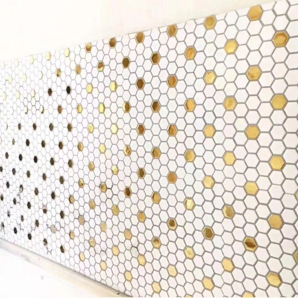 new hexagon glossy surface gold and white ceramic mosaic tile kitchen backsplash swimming pool bathroom wall tile floor tile