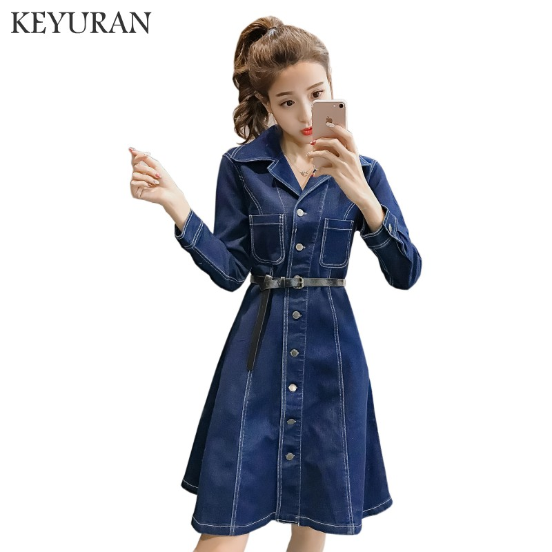 high quality Spring autumn denim dress clothing plus size women Jeans dress elegant spring slim cowboy casual Dresses vestidos