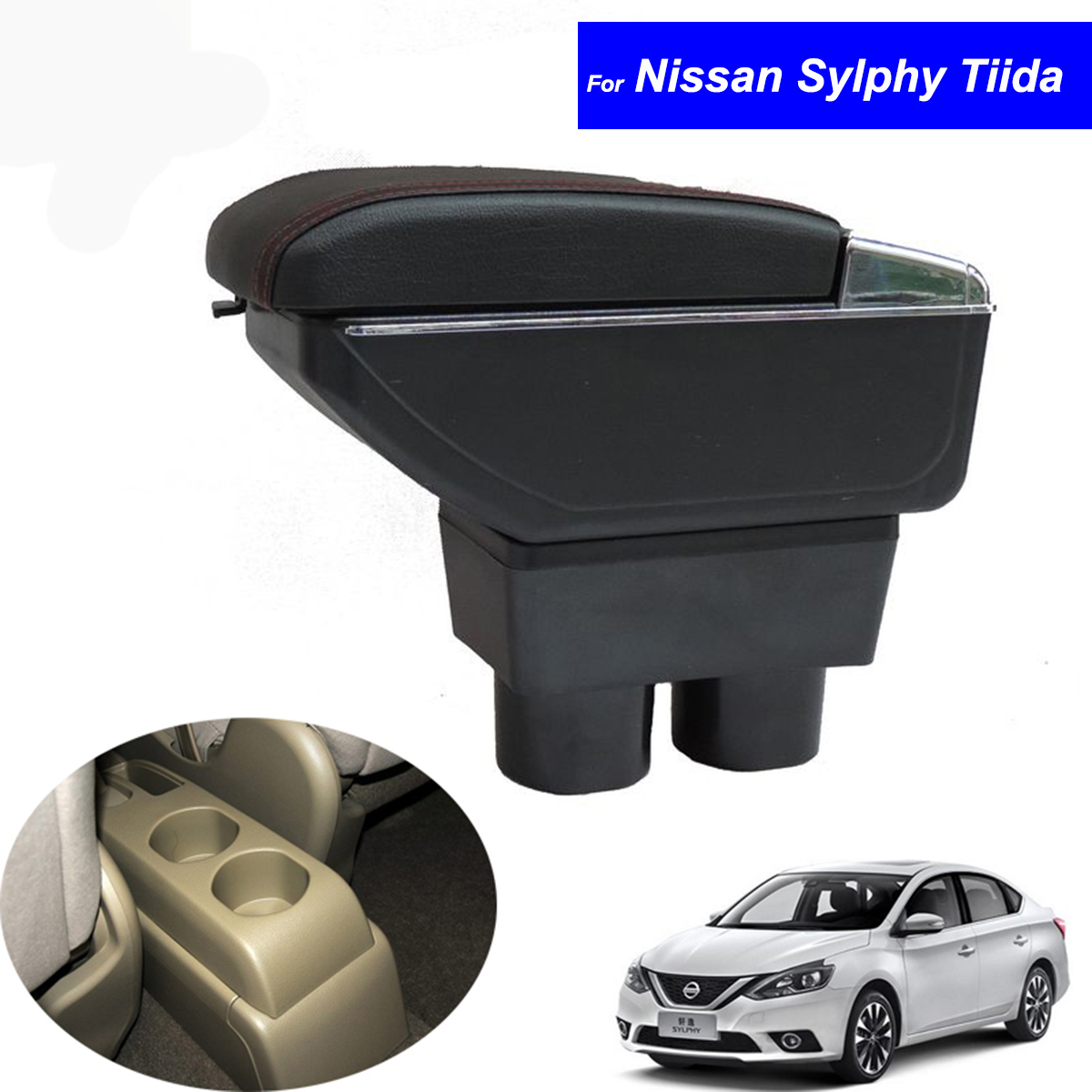 Leather Car Center Console Armrests Storage Box for Nissan Tiida Hatchback 2005~2009 / Nissan Sylphy Sedan 2012 Free Shipping universal leather car armrest central store content storage box with cup holder center console armrests free shipping