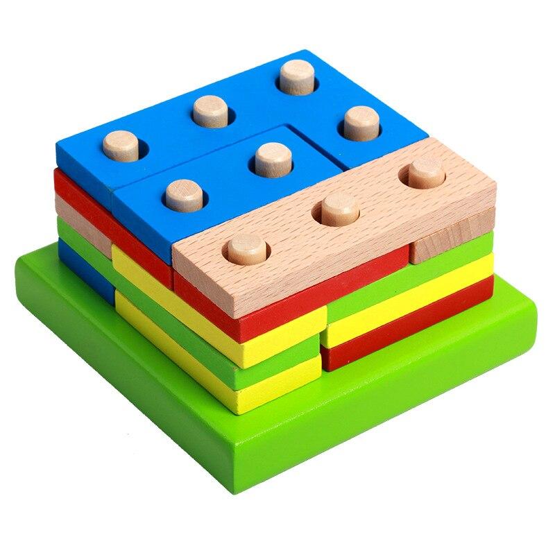Logwood kids wooden montessori educational toy geometry intelligence board childrens early education teaching gift