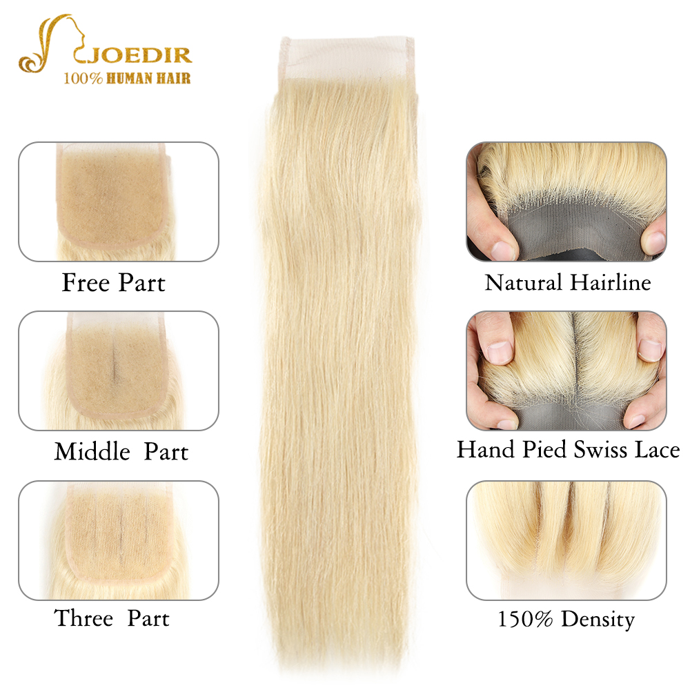 Image 4 - Joedir Hair Brazilian Straight Human Hair Lace Closure With Baby Hair 613 Blonde Color Lace Closure Three Part Remy Hair Weaving-in Closures from Hair Extensions & Wigs