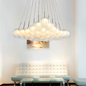 Image 2 - نجفة حديثة بإضاءة LED مصباح كرة زجاجي إسكندنافي مصابيح معلقة لغرفة المعيشة ديكورات منزلية لغرفة الطعام تركيبات لغرفة النوم