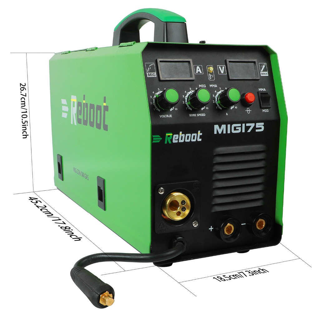 Reboot MMA MAG MIG Welder MIG-175 Flux Core Wire And Solid Wire IGBT Inverter Welding Machine  Euro Plug  Gas/Gasless  1KG/5KG