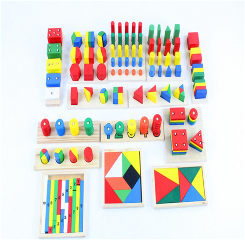 New Wooden Baby Toy Montessori Sensorial Toys Early Childhood Education Preschool Training Kids Toys 14piece Blocks Baby Gifts купить