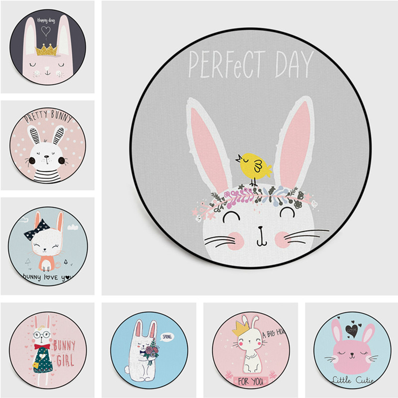 Cute Cartoon Rabbit Circular Carpet Children Climb Baby Play Mat Cushion Antiskid Bedroom Pink Grey Rug Carpet Kids Room Tapete