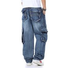 New Japan Style Brand Mens Straight Denim Cargo Pants Biker Jeans Men Baggy Loose Blue Jeans With Side Pockets Plus Size 40 46