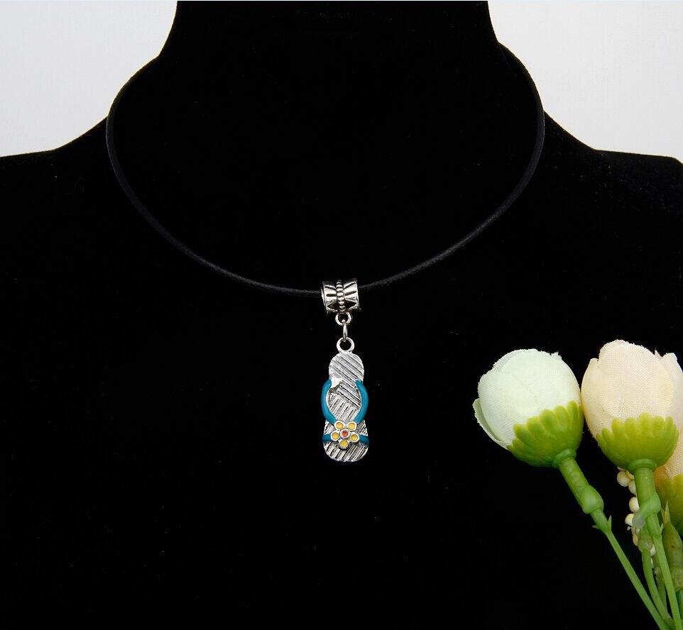 10PCS Hot Zinc Alloy Drop Glaze Women's Slippers Charm Amulet Pendant 2.5MM Leather Strap Necklace Jewelry For Women&Men F293