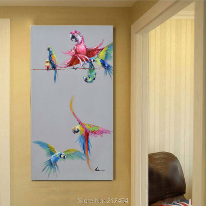 Cartoon animal beautiful birds hand painted oil painting for Canvas mural painting