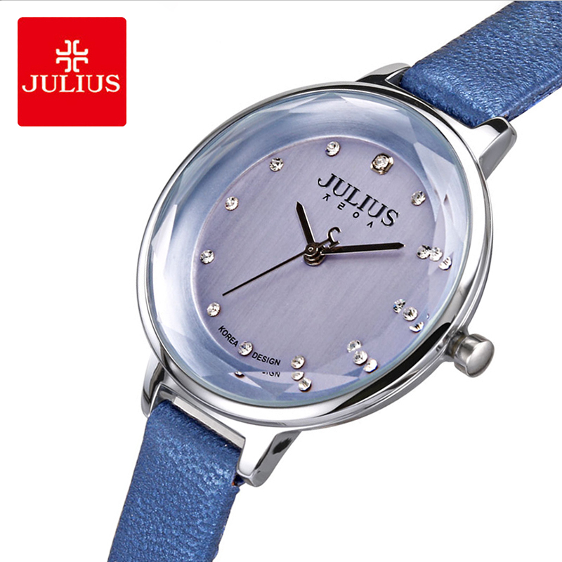 Julius Classic Blue Leather Watch Woman Elegant Crystal Big Dial Quartz Wristwatches Casual Dress Watches Female Montre Femme