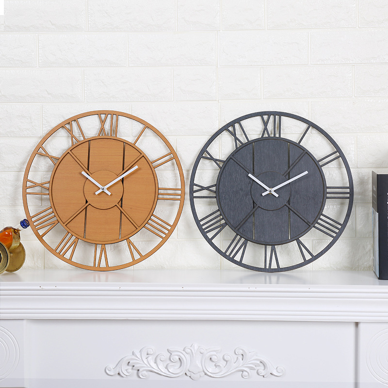 Wooden Large Wall Clock Modern Design Living Room