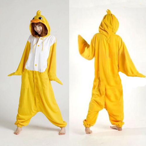 Fleece Adult Woman Lady Yellow Duck Costume Onesies Pajamas Winter Cartoon Cosplay Animal Costume For Halloween Christmas Party