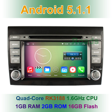 Quad Core 1024*600 Android 5.1.1 Car DVD Player for Fiat Bravo 2007 2008 2009 2010 2011 2012 2013 2014 with Radio GPS BT WiFi