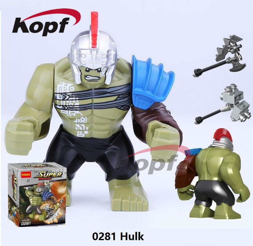 Single Sale Super Heroes 7cm Big Size Thor Ragnarok 76088 Hulk Colossus Killer Croc Building Blocks Kids Gift Toys Decool 0281