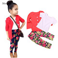 Niosung 1Set Kids Toddler Girls Short Sleeve T-Shirt Tops+Long Sleeve Coat+Print Pants Clothes Outfits Baby Child Clothing Set v