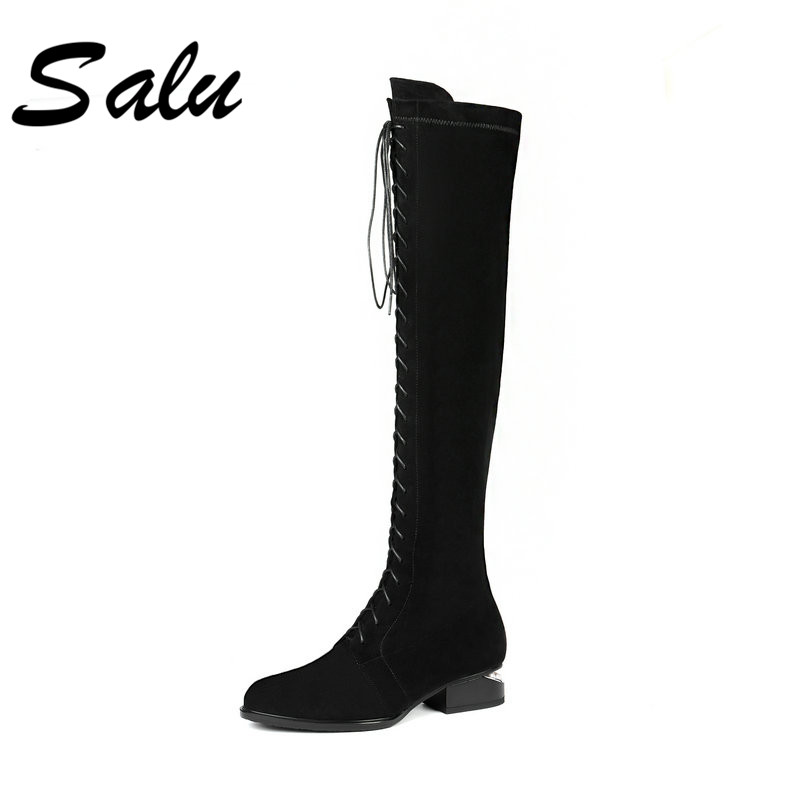 Salu Autumn Winter Women Knee-High Boots New Fashion Sheep Suede Boots Warm Wool Fur Girls Boots Quality Shoes salu winter fashion sheep suede boots classic ankle shoes genuine leather wool fur warm square high heel women boots