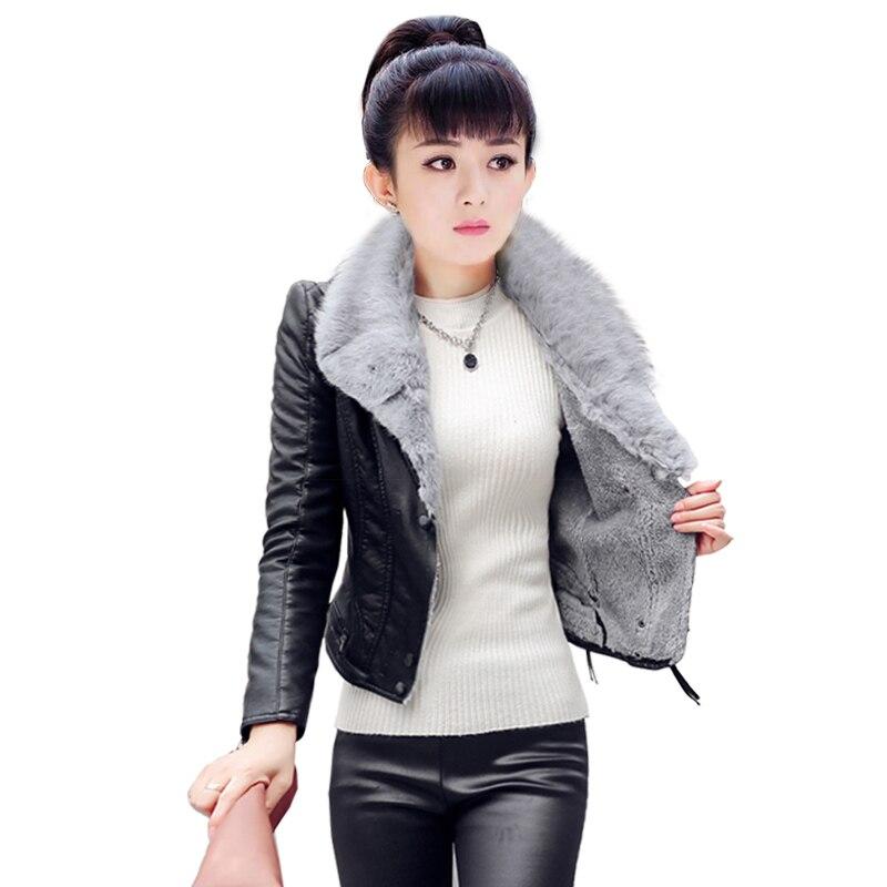 Leather   Coat Jacket Women Winter Clothes PU Fur Inside Zipper Slim Short Moto Biker Jacket Outwear Plus Size 4XL C92192