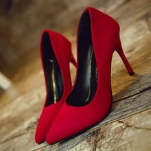 Wedding shoes for women shoes 2016 Suede shoes high heels Red women pumps Nubuck Leather Dress sheos sapatos de salto alto