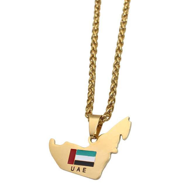 US $5 13 |Aliexpress com : Buy zkd United Arab Emirates map UAE flag  stainless steel pendant necklace , country map jewelry from Reliable  Pendants