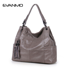 2017 New Ladies 100%Genuine Leather Casual Bag European And American Style Simple Soft Leather Large Capacity Trend Shoulder Bag