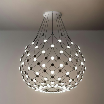 Modern LED Chandelier Ceiling Large Nets Chess Pendant Lamp Light For Hotel Hall Loft Living Room