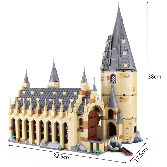 16052 Harry Movie Potter Compatible With Legoing 75954 Hogwarts Castle Great Hall Set Building Blocks Kids Toys Christmas Gifts