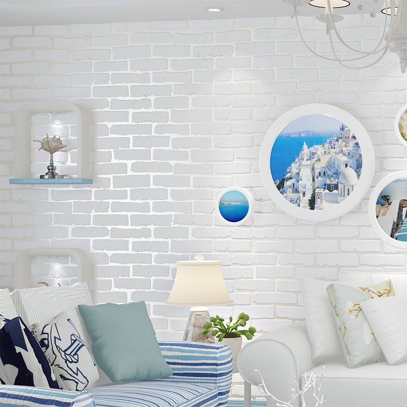 Beibehang Home decoration 3d pure white brick wallpaper embossed brick barber shop clothing 3d wallpaper roll papel de parede beibehang simple fashion clothing store hotel barber shop brick wall paper beauty salon cafe style brick pattern 3d wallpaper