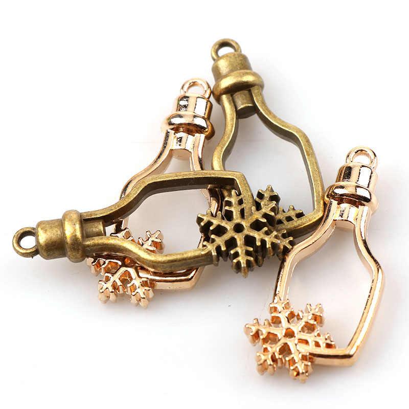 W stylu Vintage butelka płatek śniegu antyczne metalowe Hollow rama klej pusty złącze Charms wisiorek DIY ocena biżuteria akcesoria