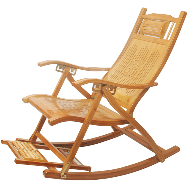 Modern Foldadble Bamboo Rocking Chair Recliner With Foot Rest Indoor