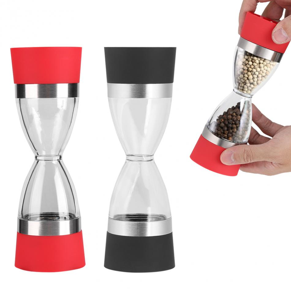 2In1 Salt Pepper Grinder Mill Hourglass Shape Manual Salt And Pepper Grinder Double Pepper Mill Muller Kitchen Cooking Tools(China)
