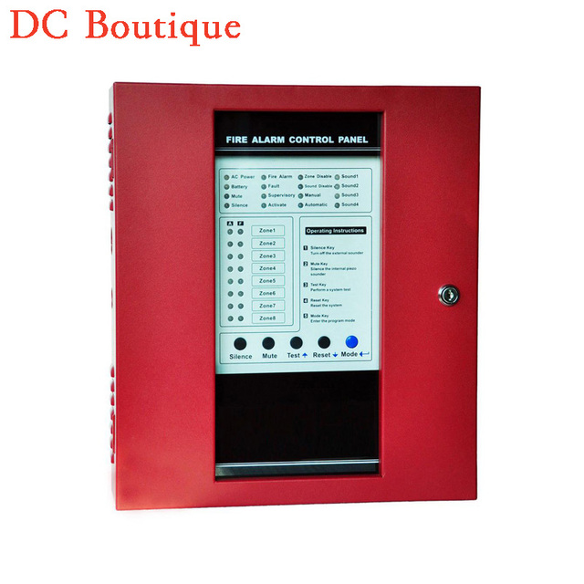 (1 set) Free DHL shipping Fire Alarm Control Panel 8 Wire Zones Security alarm Protection security self defense GSM alrm