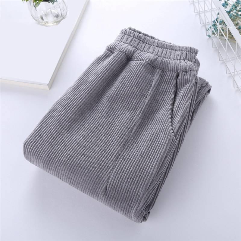 83dd6ab55ec Mferlier Harem Pants Women Elastic Waist Solid Black White Plus Size 3XL  Mori Girl Winter Loose Ankle Length Corduroy Pants-in Pants   Capris from  Women s ...
