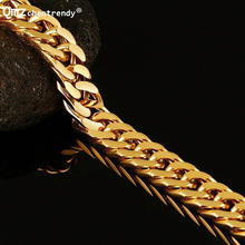 Top Quality Stainless Steel Curb Cuban Link Chains Bracelet Punk Wristbands Simple Link Bracelets Men #8217 s Fine Jewelry cheap Bangles Fashion geometric Silver Plated Titanium None Qmzchentrendy All Compatible Titanium Bracelets Gold silver cuban bracelet