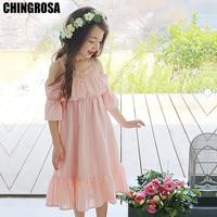 4da72aef05 CHINGROSA Pink White Solid Lace Shoulderless Girls Dresses Cotton Princess  Beach Summer Dress Kids Clothing vestidos