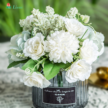 30cm/11.8in Rose Silk Peony Ins Artificial Flowers Bouquet 8 Big Head and 10 Small Fake for Home Wedding Decoration